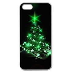 Christmas Tree Background Apple Seamless Iphone 5 Case (clear) by BangZart
