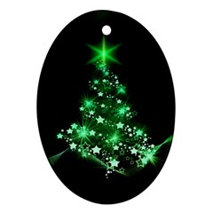 Christmas Tree Background Ornament (oval) by BangZart