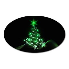 Christmas Tree Background Oval Magnet by BangZart