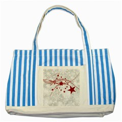 Christmas Star Snowflake Striped Blue Tote Bag by BangZart