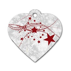 Christmas Star Snowflake Dog Tag Heart (one Side)