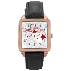Christmas Star Snowflake Rose Gold Leather Watch