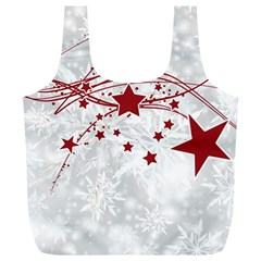 Christmas Star Snowflake Full Print Recycle Bags (l)  by BangZart