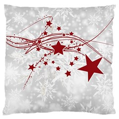 Christmas Star Snowflake Large Flano Cushion Case (one Side) by BangZart