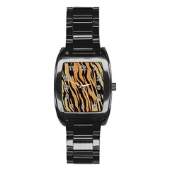 Animal Tiger Seamless Pattern Texture Background Stainless Steel Barrel Watch
