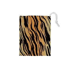 Animal Tiger Seamless Pattern Texture Background Drawstring Pouches (small)  by BangZart