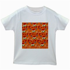 Animals Pet Cats Mammal Cartoon Kids White T Shirts