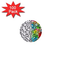 Brain Mind Psychology Idea Hearts 1  Mini Buttons (100 Pack)