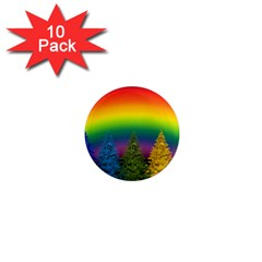 Christmas Colorful Rainbow Colors 1  Mini Magnet (10 Pack)