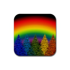 Christmas Colorful Rainbow Colors Rubber Coaster (square)  by BangZart