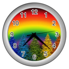 Christmas Colorful Rainbow Colors Wall Clocks (silver)