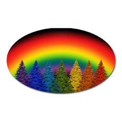 Christmas Colorful Rainbow Colors Oval Magnet by BangZart