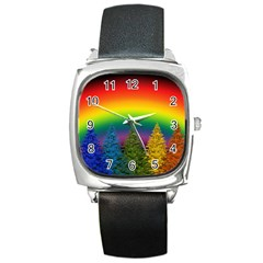 Christmas Colorful Rainbow Colors Square Metal Watch by BangZart