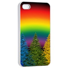 Christmas Colorful Rainbow Colors Apple Iphone 4/4s Seamless Case (white)