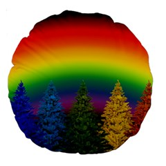 Christmas Colorful Rainbow Colors Large 18  Premium Round Cushions