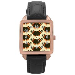 Butterfly Butterflies Insects Rose Gold Leather Watch