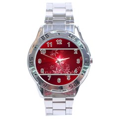 Christmas Candles Christmas Card Stainless Steel Analogue Watch
