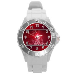Christmas Candles Christmas Card Round Plastic Sport Watch (l) by BangZart