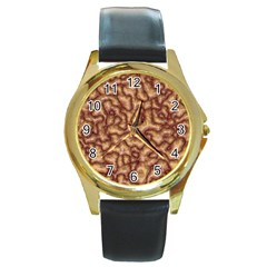 Brain Mass Brain Mass Coils Round Gold Metal Watch