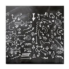 Arrows Board School Blackboard Tile Coasters by BangZart