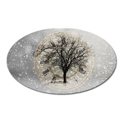 Snow Snowfall New Year S Day Oval Magnet by BangZart