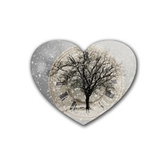Snow Snowfall New Year S Day Rubber Coaster (heart)  by BangZart