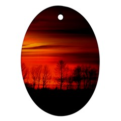 Tree Series Sun Orange Sunset Ornament (oval) by BangZart