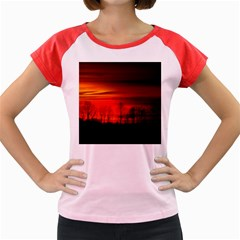 Tree Series Sun Orange Sunset Women s Cap Sleeve T-shirt