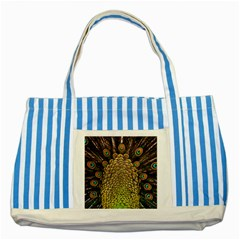 Peacock Feathers Wheel Plumage Striped Blue Tote Bag