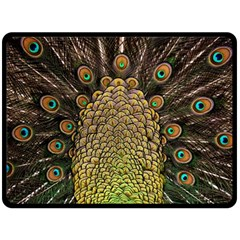 Peacock Feathers Wheel Plumage Double Sided Fleece Blanket (large)  by BangZart