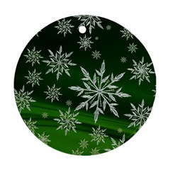 Christmas Star Ice Crystal Green Background Ornament (round)