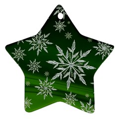 Christmas Star Ice Crystal Green Background Ornament (star) by BangZart