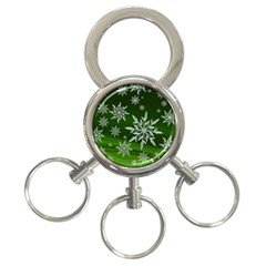 Christmas Star Ice Crystal Green Background 3 Ring Key Chains by BangZart