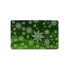 Christmas Star Ice Crystal Green Background Magnet (name Card) by BangZart