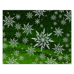 Christmas Star Ice Crystal Green Background Rectangular Jigsaw Puzzl by BangZart
