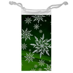 Christmas Star Ice Crystal Green Background Jewelry Bag