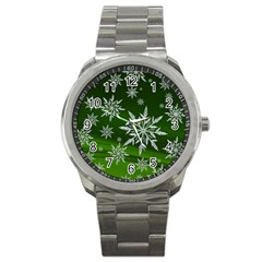 Christmas Star Ice Crystal Green Background Sport Metal Watch by BangZart