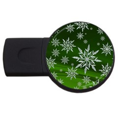 Christmas Star Ice Crystal Green Background Usb Flash Drive Round (4 Gb) by BangZart