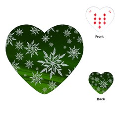 Christmas Star Ice Crystal Green Background Playing Cards (heart)
