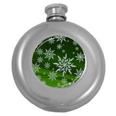 Christmas Star Ice Crystal Green Background Round Hip Flask (5 Oz)
