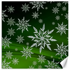 Christmas Star Ice Crystal Green Background Canvas 12  X 12   by BangZart