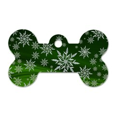 Christmas Star Ice Crystal Green Background Dog Tag Bone (one Side)
