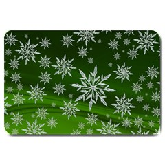 Christmas Star Ice Crystal Green Background Large Doormat  by BangZart