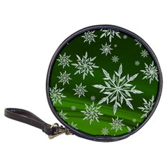 Christmas Star Ice Crystal Green Background Classic 20 Cd Wallets by BangZart