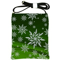 Christmas Star Ice Crystal Green Background Shoulder Sling Bags