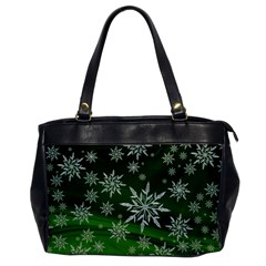 Christmas Star Ice Crystal Green Background Office Handbags by BangZart