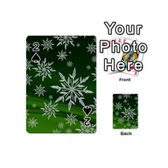 Christmas Star Ice Crystal Green Background Playing Cards 54 (mini)