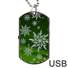 Christmas Star Ice Crystal Green Background Dog Tag Usb Flash (one Side)