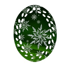 Christmas Star Ice Crystal Green Background Oval Filigree Ornament (two Sides)