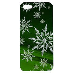 Christmas Star Ice Crystal Green Background Apple Iphone 5 Hardshell Case by BangZart